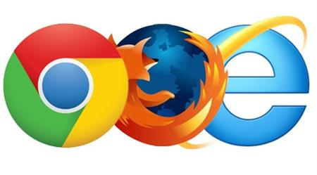 chrome browser, firefox browser, internet explorer browser