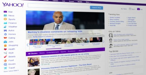 yahoo mail is accessible on the main landing page for yahoo