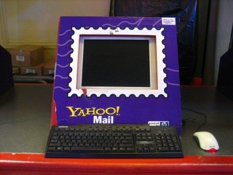 This is a dressed up old school computer with a yahoo email frame.